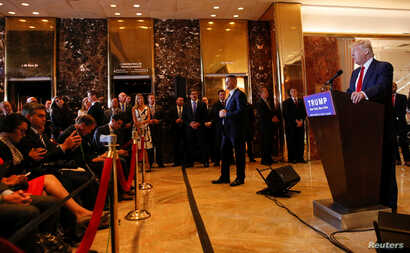 FILE - U.S. Republican presidential candidate Donald Trump holds a news conference at Trump Tower in Manhattan, New York, May 31, 2016.