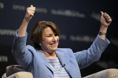 Democratic presidential candidate Sen. Amy Klobuchar, D-Minn., speaks at the Heartland Forum on the campus of Buena Vista University in Storm Lake, Iowa, March 30, 2019.