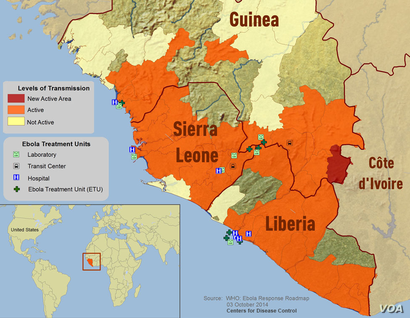 Ebola, spread to disease, CDC update, Oct. 3, 2014