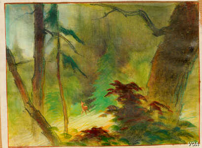 Taking inspiration from Song dynasty lanscape painters, Tyrus Wong created the sense of a vast forest with just a few strokes.
