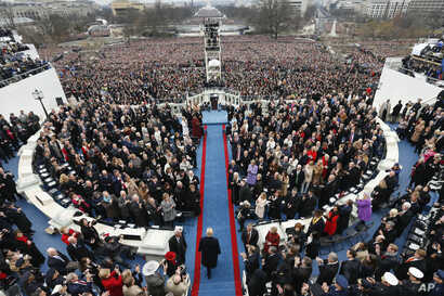 President-elect Donald Trump arrives during the 58th Presidential Inauguration at the U.S. Capitol in Washington, Jan. 20, 2017.
