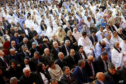 Members of political parties from across the spectrum meet in Laayoune, Western Sahara's largest city, to condemn the latest actions of the Polisario Front, a movement seeking independence for mineral-rich Western Sahara, April 9, 2018.
