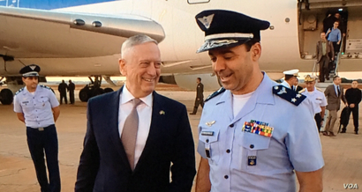 US Secretary of Defense Mattis was greeted upon arrival in Brasilia, Brazil, Aug. 13, 2018. (Photo: C. Babb / VOA)