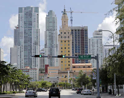 A high-rise building under construction is shown, Sept. 7, 2017, in downtown Miami.