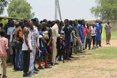 A crowd watches one of the matches at the inaugural Corporate League in Juba.
