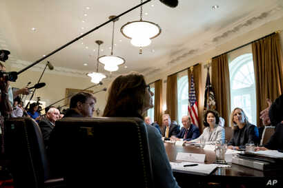 Secretary of Veterans Affairs Robert Wilkie, left, and CIA Director Gina Haspel, center, attend a cabinet meeting in the Cabinet Room of the White House, Aug. 16, 2018, in Washington.
