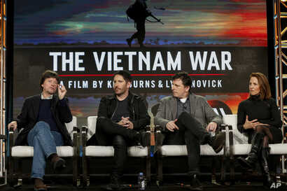 """FILE - In this Sunday, Jan. 15, 2017, file photo, Ken Burns, from left, Trent Reznor, Atticus Ross and Lynn Novick speak at PBS' """"The Vietnam War"""" panel at the 2017 Television Critics Association press tour in Pasadena, Calif. The public TV service s..."""