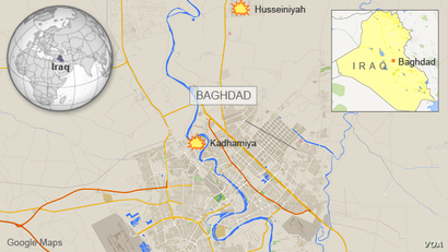 Map of Baghdad showing neighborhood of Kadhamiya and suburb of Husseiniyah