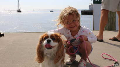 One of the girls' dog and niece eagerly awaited her arrival on the dock.