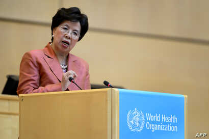 World Health Organization (WHO) Director-General Margaret Chan delivers a speech during the World Health Assembly, with some 3,000 delegates from its 194 member states on May 23, 2016 in Geneva, Switzerland.