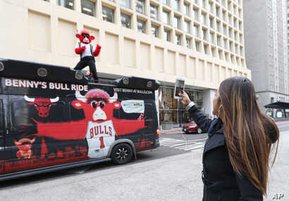 FILE -  Chicago Bulls' mascot Benny the Bull is photographed by a pedestrian as he reenacts the famous scene of Ferris Bueller singing during a parade at Daley Plaza while shooting a daylong Snapchat video.
