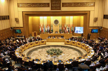 Arab League foreign ministers hold an emergency meeting on U.S. President Donald Trump's decision to recognize Jerusalem as the capital of Israel, in Cairo, Egypt, Dec. 9, 2017.