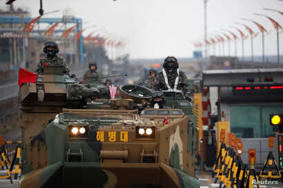 Amphibious assault vehicles of the South Korean Marine Corps travel during a military exercise as a part of the annual joint military training called Foal Eagle between South Korea and the U.S. in Pohang, South Korea, April 5, 2018.