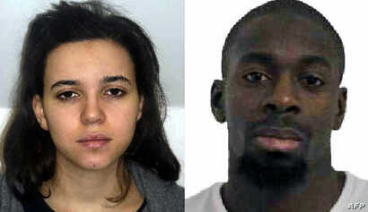 Combination images released on Jan 9, 2015 by the French police shows Hayat Boumeddiene (L) and Amedy Coulibaly (R), suspected of being involved in the killing of a policewoman in Montrouge on January 8.