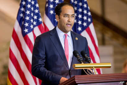FILE - Rep. Will Hurd, R-Texas, speaks on Capitol Hill in Washington, Dec. 9, 2015.
