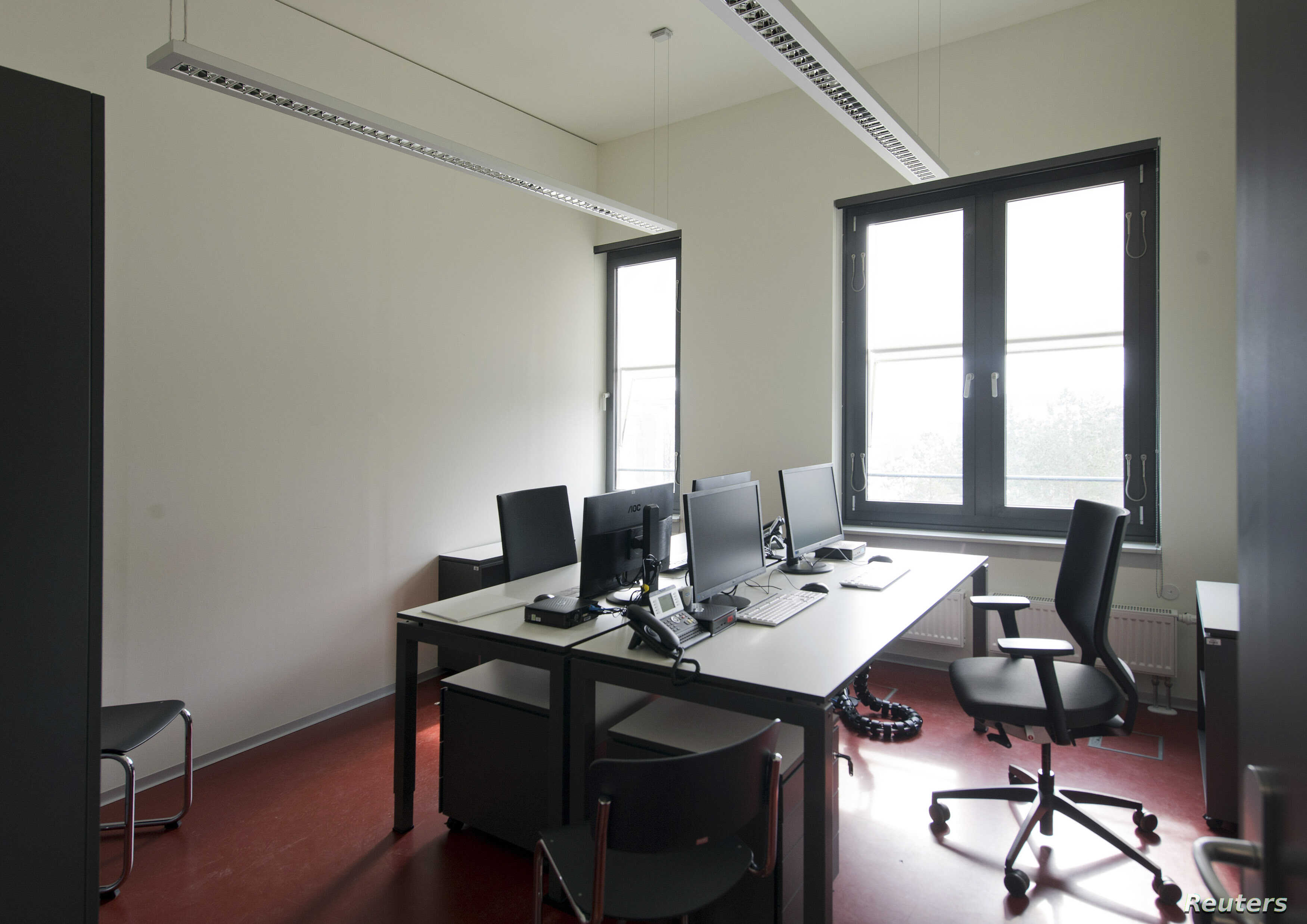 FILE - General view of an empty office at the German Federal Intelligence Agency (BND).