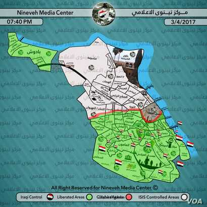 Local government media released this map on Monday of Western Mosul. Only the northwest part of the city is still held by IS, and the battles are increasingly fierce for soldiers and civilians. (Courtesy of Nineveh Media Center)