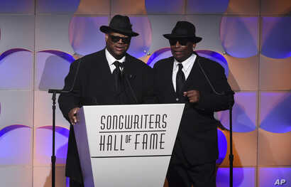 Songwriters Jimmy Jam (left) and Terry Lewis accept their awards at the 48th Annual Songwriters Hall of Fame Induction and Awards Gala at the New York Marriott Marquis Hotel, June 15, 2017, in New York.