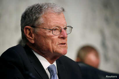 Senator James Inhofe (R-OK) Chairman of the Senate Armed Services Committee during a hearing on Worldwide Threats on Capitol Hill in Washington, March 6, 2018.