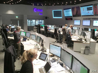 FILE - The ExoMars mission control team at ESA's center in Darmstadt, Germany, is training to prepare for Schiaparelli's arrival at the Red Planet in this photo released Aug. 31, 2016. (Photo courtesy of ESA)