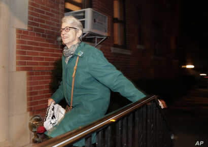 Jessica Leeds arrives at her apartment building, Oct. 12, 2016.