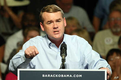 Sen. Michael Bennet D- Colo., speaks speaks to supporters at a campaign stop for President Barack Obama in Grand Junction Colorado.,, Aug. 8, 2012.