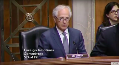 "Republican U.S. Senator Bob Corker revealed a delay in advancing a Senate bill imposing new sanctions on Iran as he spoke during  a Senate hearing on the European Union as a U.S. ""partner against Russian aggression,"" April 4, 2017."