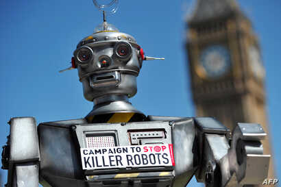 FILE - The mock killer robot was displayed in London in April 2013 during the launching of the Campaign to Stop Killer Robots, which calls for the ban of lethal robot weapons that would be able to select and attack targets without any human intervent