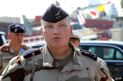 French Air Force Brigadier General Frederic Parisot, is seen at a naval base in Abu Dhabi on Nov. 9, 2017, during a visit by the French president.