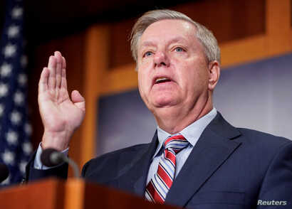 Chairman of the Senate Judiciary Committee Lindsey Graham (R-SC) speaks to the media after Special Counsel Robert Mueller found no evidence of collusion between U.S. President Donald Trump's campaign and Russia in the 2016 election on Capitol Hill in