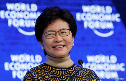 Carrie Lam, chief executive of Hong Kong, is pictured at the World Economic Forum annual meeting in Davos, Switzerland, Jan. 26, 2018.