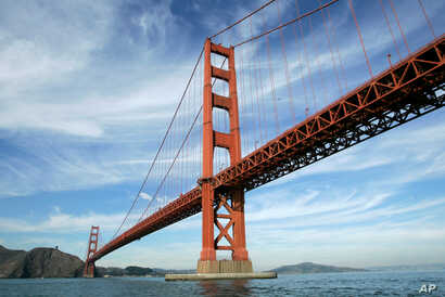 This file photo from Nov. 15, 2006, shows San Francisco's Golden Gate Bridge, which finished No. 11 in TripAdvisor's Traveler's Choice listings.