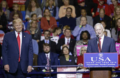 President-elect Donald Trump, left, listens to retired United States Marine Corps General James Mattis after appointing Mattis as upcoming Secretary of Defense while speaking to supporters during a rally in Fayetteville, N.C., Tuesday, Dec. 6, 2016. ...