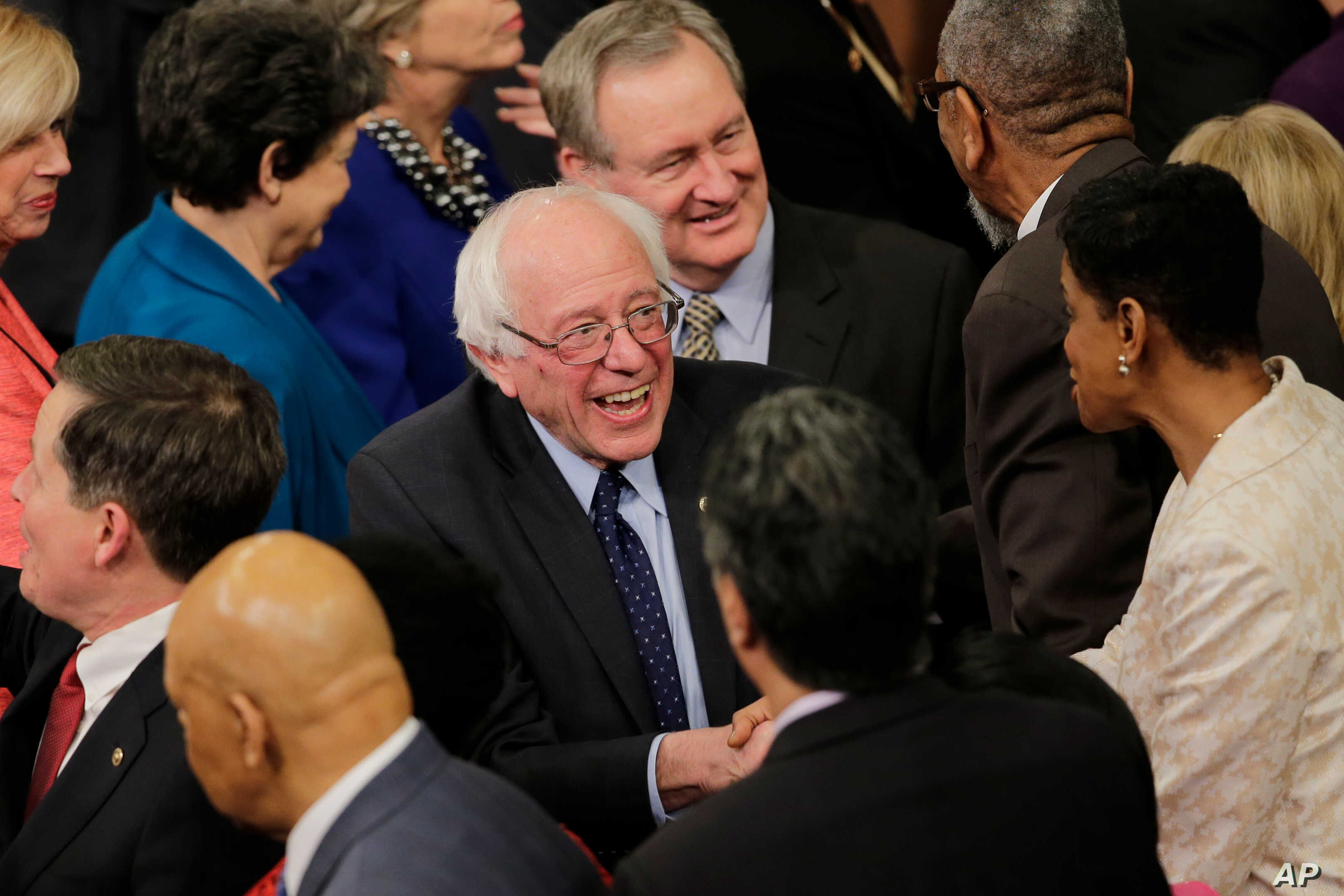 Democratic presidential candidate Sen. Bernie Sanders, I-Vt. arrives on Capitol Hill in Washington, Tuesday, Jan. 12, 2016, for President Barack Obama's State of the Union address before a joint session of Congress .