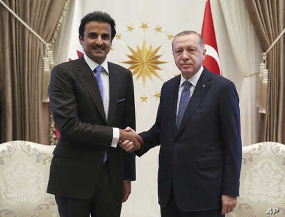 Turkey's President Recep Tayyip Erdogan, right, and Qatar's Emir Sheikh Tamim bin Hamad Al Thani shake hands before their talks in Ankara,  Aug. 15, 2018.