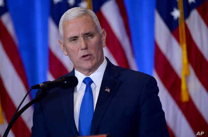 Vice President-elect Mike Pence addressed the press before introducing President-elect Donald Trump in New York, Jan. 11, 2017.