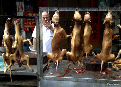 FILE: A vendor smokes behind a display of dog meat at a dog meat market on the day of a local dog meat festival in Yulin, Guangxi Autonomous Region, June 22, 2015.