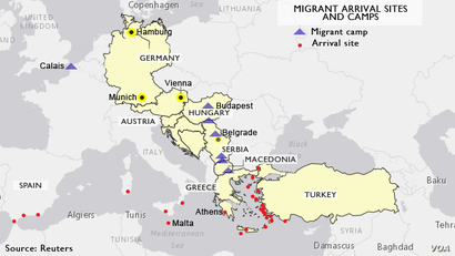 Migrant arrival points and encampments