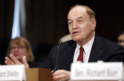 FILE - Sen. Richard Shelby, speaks during a Senate Judiciary Committee hearing, on Capitol Hill, Sept. 20, 2017 in Washington.