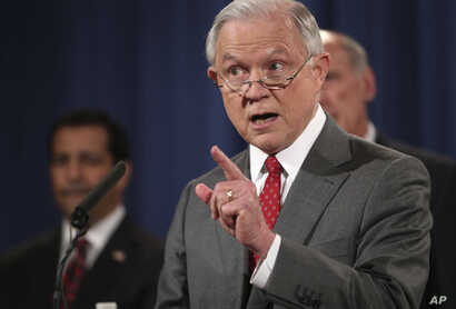 FILE - In this Aug. 4, 2017, photo, U.S. Attorney General Jeff Sessions, speaks at a news conference at the Justice Department in Washington.