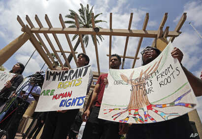 Supporters of the Deferred Action for Childhood Arrivals Act (DACA) and others demonstrate outside the U.S. District Court 9th Circuit in Pasadena, California, May 15, 2018.