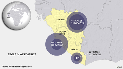 Ebola cases in Guinea, Sierra Leone and Liberia as of July 24, 2014.