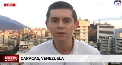 American journalist Cody Weddle speaks in Caracas, Venezuela, January 2019 in this picture grab obtained from a social media video.