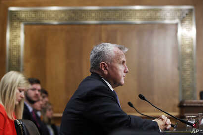 Deputy Secretary of State-designate John Sullivan testifies on Capitol Hill in Washington, May 9, 2017, at his confirmation hearing before the Senate Foreign Relations Committee.