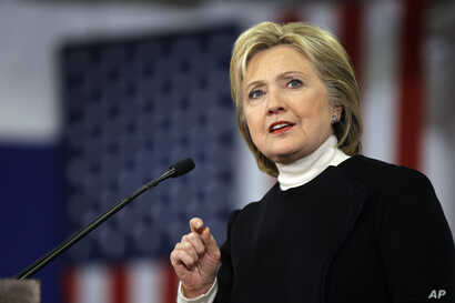 Democratic presidential candidate Hillary Clinton speaks at her first-in-the-nation presidential primary campaign rally in Hooksett, New Hampshire, Feb. 9, 2016.