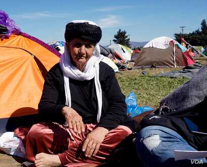 Jalila, a 79-year-old Yazidi woman from northern Iraq hoping to join a daughter in Holland. Her farm is now in territory controlled by the Islamic State.
