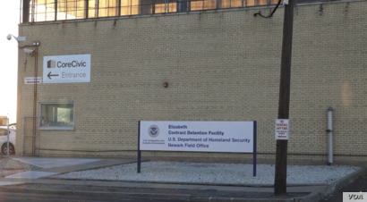 The Elizabeth Detention Center is in an industrial area surrounded by parking lots, a railroad, a freight station and the New Jersey Turnpike — a geographic location that works as an invisible wall.