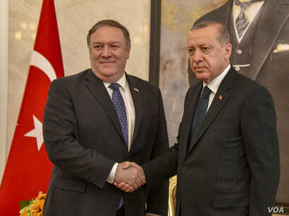 U.S. Secretary of State Michael R. Pompeo meets with Turkish President Recep Tayyip Erdoğan in Ankara, Turkey on October 17, 2018.