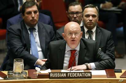 Russia's U.N. Ambassador Vassily Nebenzia addresses the United Nations Security Council, at U.N. headquarters, Monday, Sept. 17, 2018.