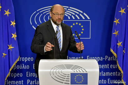 European Parliament President Martin Schulz gives a statement after the Conference of Presidents at the European Parliament in Brussels, Belgium, June 24, 2016.